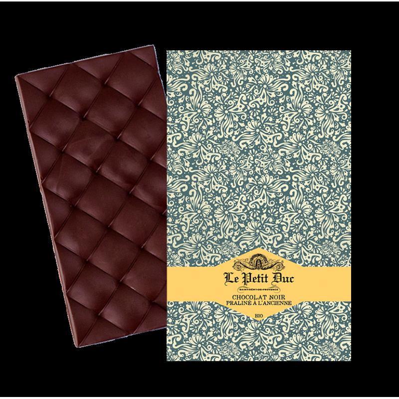 Dark chocolate and praline tablet